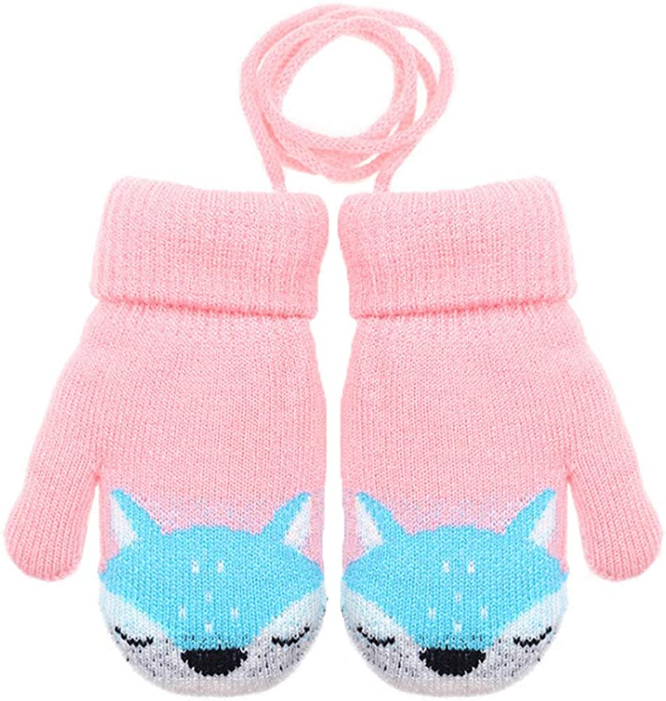CHUANGLI Kids Winter Warm Knit Mittens with String Thick Plush-lined Gloves Boys Girls Outdoor Ski Gloves
