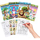 24 Mini Coloring & Sticker Books, Small Coloring Books Arts Activity for Kids| Birthday Party Bag Fillers Pinata Favors Christmas Stocking Fillers Classroom Gifts School Prizes for Children.