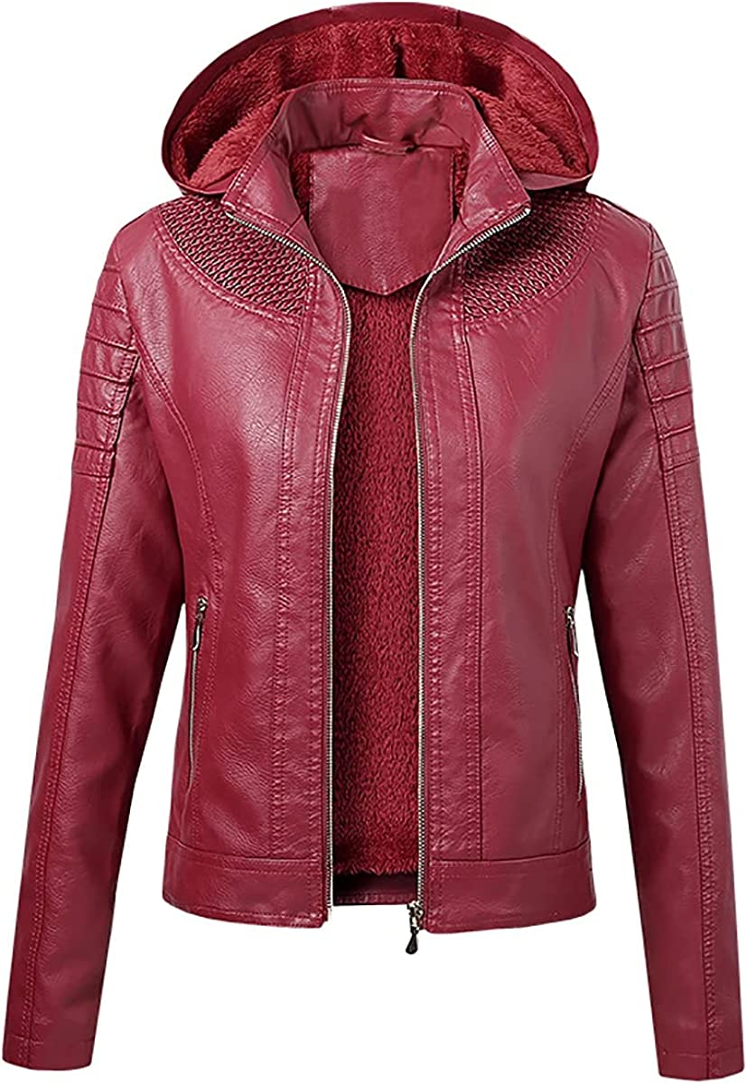 Women's Removable Hooded Faux Leather Jackets Moto Biker Jacket Zip Up Motorcycle Short PU Coat Outwear