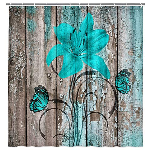 JAWO Rustic Floral Shower Curtain for Bathroom, Teal Lilies Flower and Butterflies Shower Curtain with Hooks, Turquoise and Brown Shower Curtain, Farmhouse Country Bathroom Curtain 69W X 70L Inches