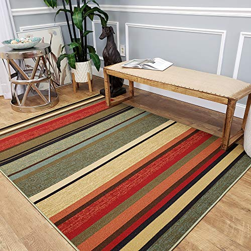 Rubber Backed Area Rug, 58 x 78 inch (fits 5x7 Area), Multicolor Striped, Non Slip, Kitchen Rugs and Mats