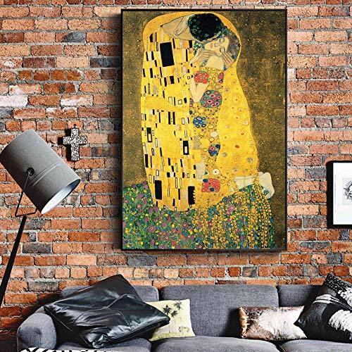 tzxdbh Gustav Klimt Kuss Gemälde An Der Wand Reproduktionen Klassische Berühmte Wandkunst Leinwand Klimt Kuss Bilder Für Wohnzimmer Decor-in Malerei & Kalligraphie von ungerahmt 50x75 cm