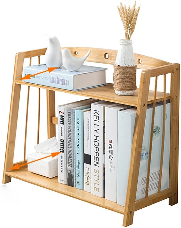 2-layer Bamboo Hollow Desktop Bookshelf, Simple Storage Rack, Student Office Mini Book-Storage Desk Organizer File Shelves (Size   L4324.542cm)