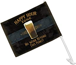 GRAPHICS & MORE Happy Hour Zone No Work Beyond This Point Beer Car Truck Flag with Window Clip On Pole Holder