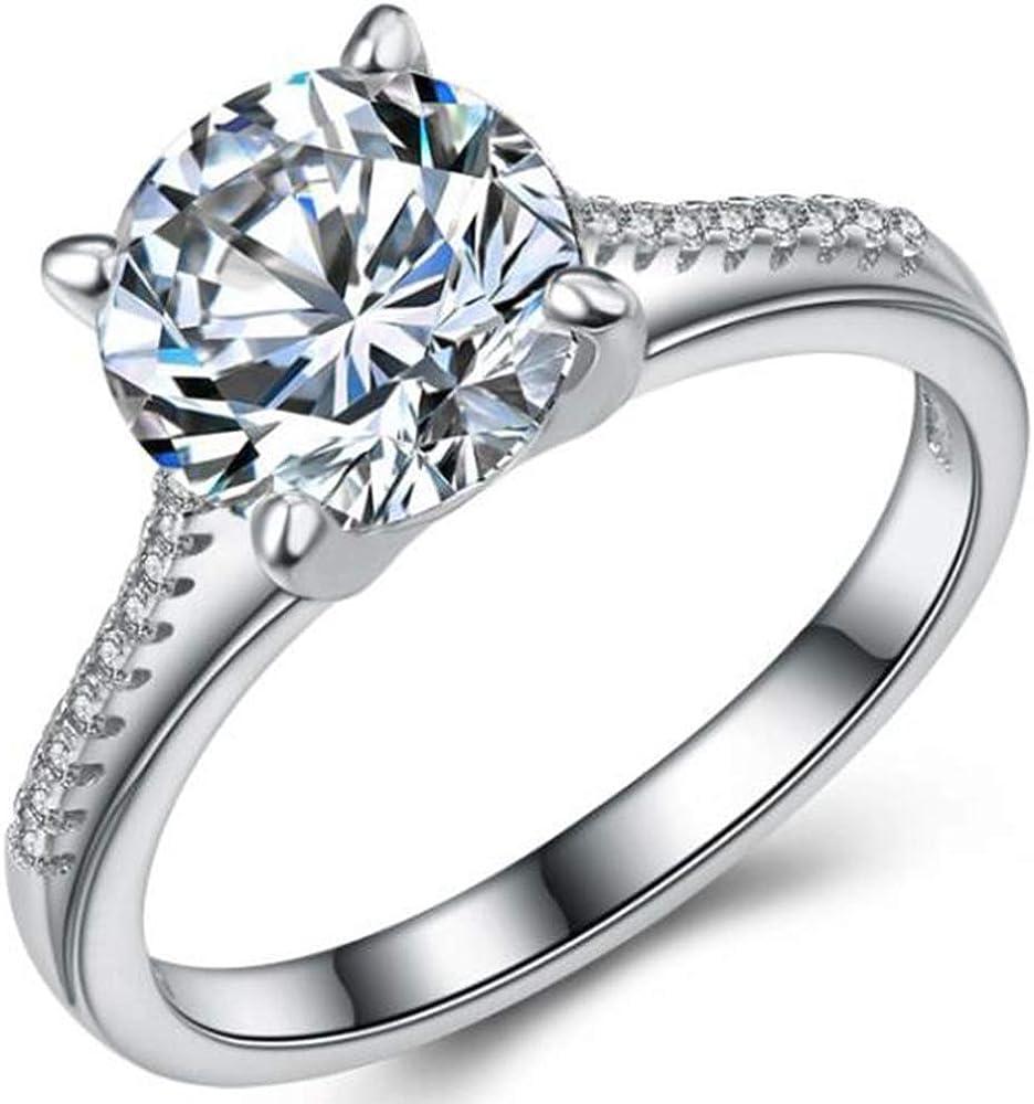 Stainless Steel 2.0 Carat Wedding Engagement Propose Statement Anniversary Halo Ring