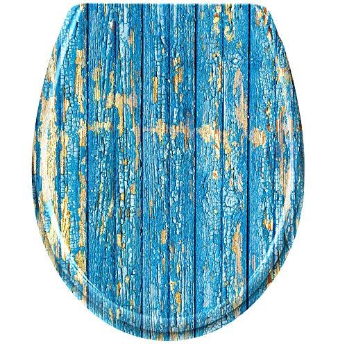 HENGMEI Toilettendeckel mit Absenkautomatik Toilettensitz WC-Sitz Klodeckel Klobrille aus Hartplastik, 45 x 38cm,Blau