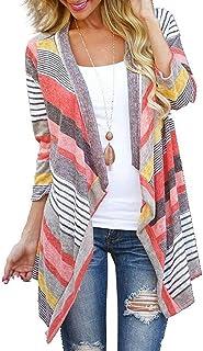Euovmy Women's 3/4 Sleeve Cardigans Striped Printed Open Front Draped Kimono Loose Cardigan
