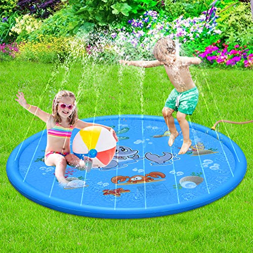 Sprinkle & Splash Play Mat - 68 Water Sprinkler, Kiddie Outdoor Outside Water Pool Toys for Toddlers Kids Children Infants Boys and Girls - Perfect Inflatable Outdoor Summer Water Toys Sprinkler pad