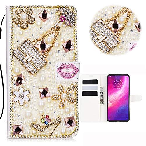 Sony Xperia L4 Glitter Hülle Case 3D Handtasche Absatz Lippe Strass Diamant Weiße Ledertasche PU Lederhülle Flip Hülle Ständer Wallet Tasche Schutzhülle Glitzer Handy Case für Sony Xperia L4