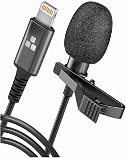 Galvanox Microphone for iPhone - Lightning Clip On Lapel Lavalier Mic for Calls/Professional Recording, 5FT Cable (Omnidirectional Condenser)