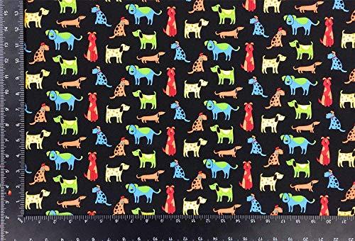 Happy Paws Chiens Multi Noir 100% Cotton Haute Qualité Fabric Matériel A4 Échantillon