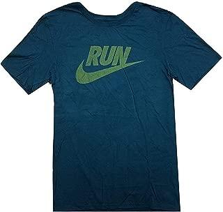 Nike Men's Run Swoosh Graphic T-Shirt Teal/Gold BQ6131-347