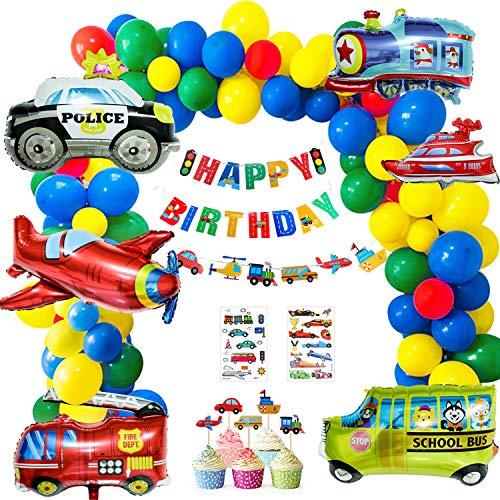 Geburtstag Dekorationen, 60 Stück Verkehr Geburtstag Deko Set-40 Luftballons, Auto Zug Flugzeug Schiff für Kinder Geburtstagsdeko