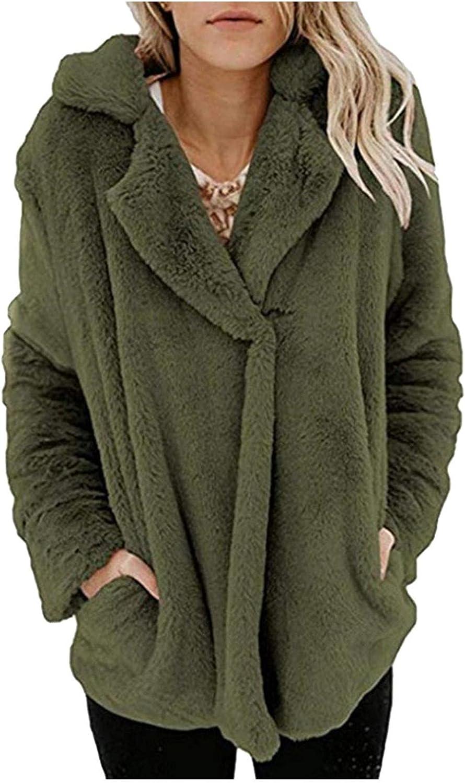 Women's Winter Warm Fluffy Fleece Jacket Coat Flannel Overcoat Suit Long Sleeve Thicken Plush Collar Pocket Outwear