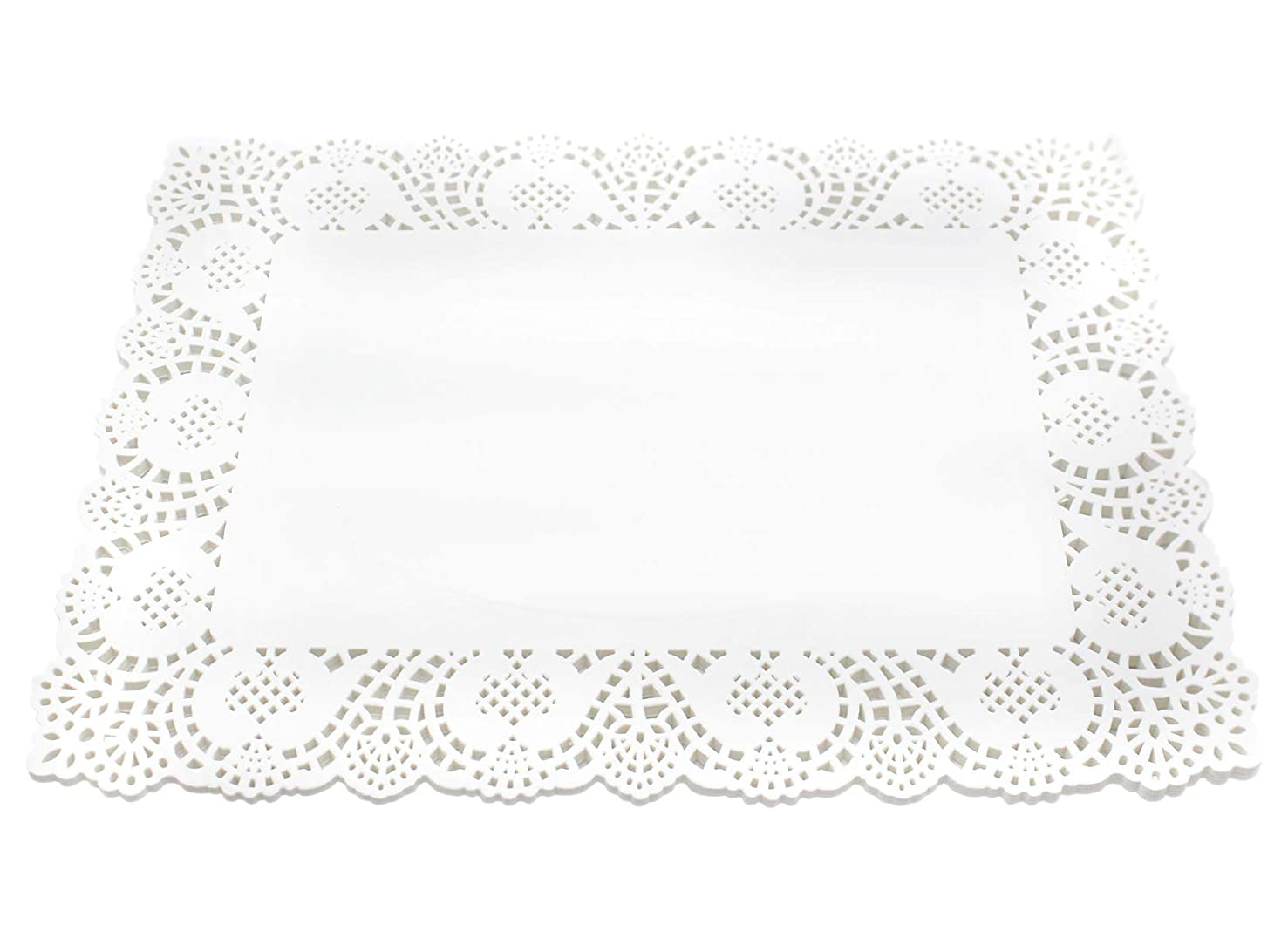 100 Pcs White Rectangle Lace Paper Doilies Placemats for Wedding Tea Party and Baking, 12x8 Inch