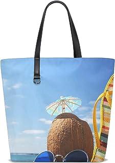 FANTAZIO Schultertasche für Damen, Strandbilder, Tragetasche