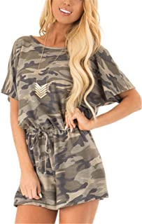 Womens Short Sleeve Camo Romper with Pockets 4th of July Outfits Camouflage Jumpsuit Shorts