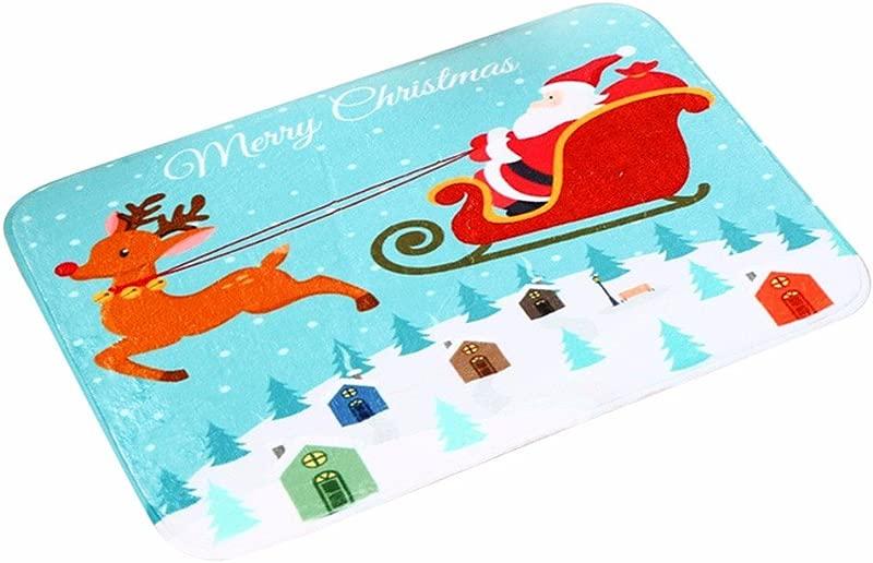 WM MW Christmas Door Mats Cute Santa Claus Print Welcome Door Mats Floor Indoor Home Carpets Bathmat Decor D