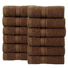 Todd Linens Juego de 12 toallas de cara de bala, de regalo – 500 g/m², absorbentes de alta, algodón hilado a mano, color marrón (chocolate, ju...