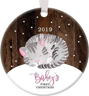 Baby Girl First Christmas Ornament 2019 Adorable Infant Kitty Cat Mommy & Daddy's Newborn Daughter Ceramic Keepsake Present Cute Little Kitten 3