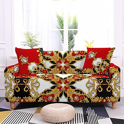 Meiju 3D Fundas de Sofá Elasticas de 1 2 3 4 Plazas, Clásico Ajustables Cubierta de Sofá Cubre Sofa Antideslizante Funda Cubre Sofas Furniture Protector (Diamante Rojo,1 Plaza - 90-140cm)