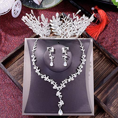 MICOKY Kopfschmuck koreanische Braut 3-teilige weiße Halskette Ohrringe Set Brautkleid Zubehö
