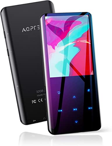 """32GB MP3 Player with Bluetooth 5.0, AGPTEK 2.4"""" Curved Screen Music Player with Speaker HiFi Lossless Sound with FM R..."""