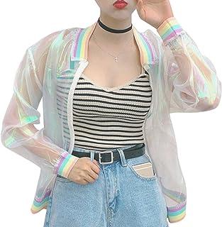 RARITYUS Women Girls Hologram Rainbow Bomber Jacket Iridescent Transparent Summer Sun-Proof Coat, Transparent, One Size