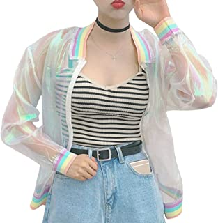RARITY-US Women Girls Laser Hologram Rainbow Bomber Jacket Iridescent Transparent Summer Sun-Proof Coat