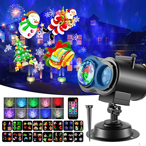 Christmas LED Projector Lights, 2-In-1 Ocean Wave Moving Patterns Projector Lights with 16 Slides 10 Wave Colors, Waterproof Outdoor Indoor for Party Holiday Halloween Courtyard Decoration
