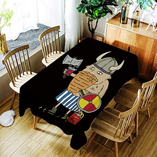 Tafelkleed Cartoon Protector Boer Huishoudelijk spatwaterdicht en wasbaar tafelkleed (rechthoekig, zwart, 55 x 78 inch)