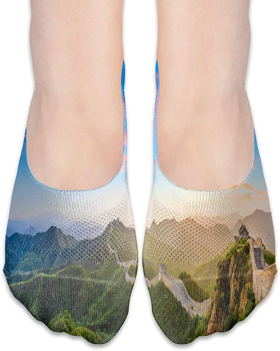 No Show Socks Women Men For The Great Wall Of China Flats Cotton Ultra Low Cut Liner Socks Non Slip