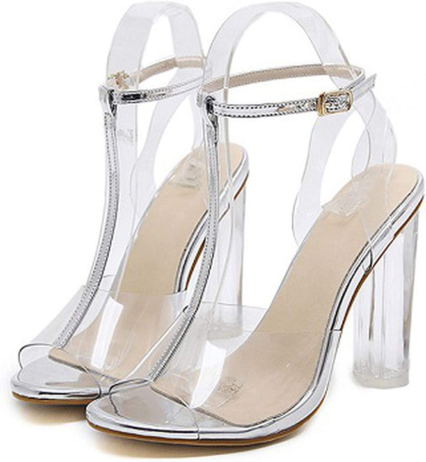 Gooding Day PVC Jelly Sandals Crystal Leopard Open Toed High Heels Transparent Heel Sandals Slippers 11CM