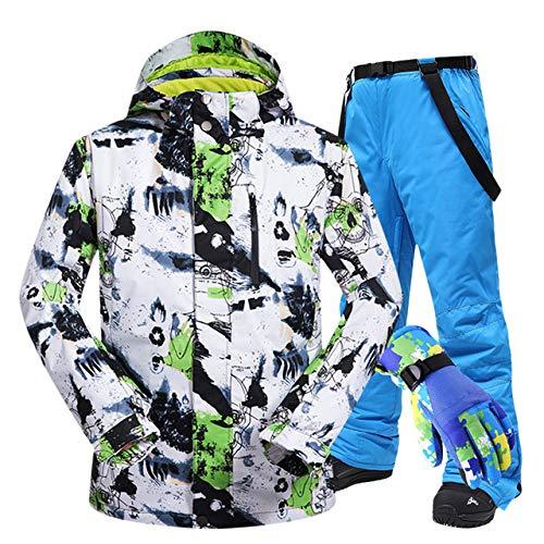 STEDMNY Combinaison de Ski Hommes Hiver Coupe-Vent imperméable Veste et Pantalon de Neige Thermique Ski écran Tactile Gants Gants Snowboard Veste de Ski Hommes, BaiLV ET Bleu G3, L