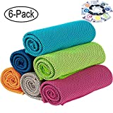 [6 Pack] Cooling Towel (36'x12'), Soft Breathable Ice Sports Towel Keep Cool Chilly Towel Super Absorbent Microfiber Fast Drying Towels Chilling Neck Wrap for Yoga, Sport, Workout, Fitness