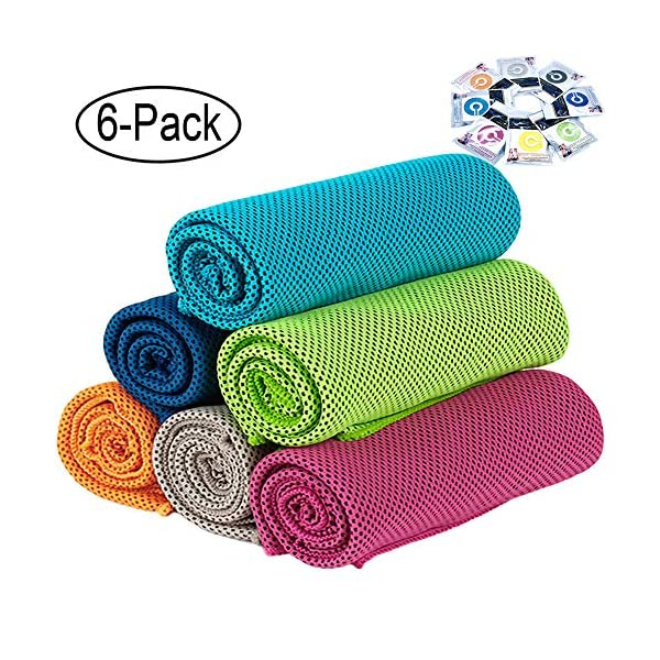 GeTeLe [6 Pack] Cooling Towel 36″x12″, 47″x12″ Soft Breathable...