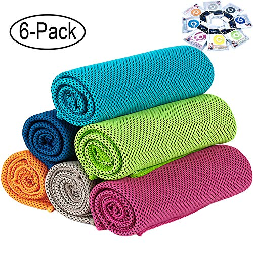 "GeTeLe [6 Pack] Cooling Towel (36""x12""), Soft Breathable Ice Sports Towel Keep Cool Chilly Towel Super Absorbent Microfiber Fast Drying Towels Chilling Neck Wrap for Yoga, Sport, Workout, Fitness"