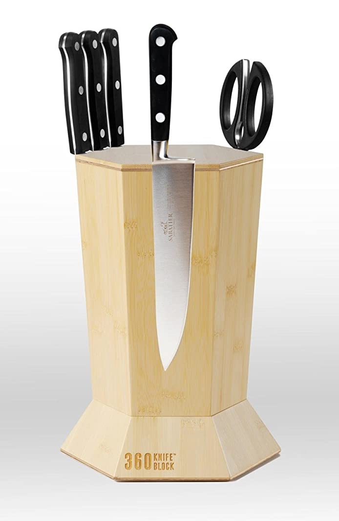 360 Knife Block - (Blonde Bamboo) ROTATING - Magnetic - BEST Universal Knife Block