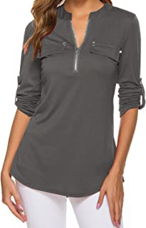 Womens V Neck 3/4 Long Sleeve Zipper Shirts Casual Swing Tunic Tops Blouse