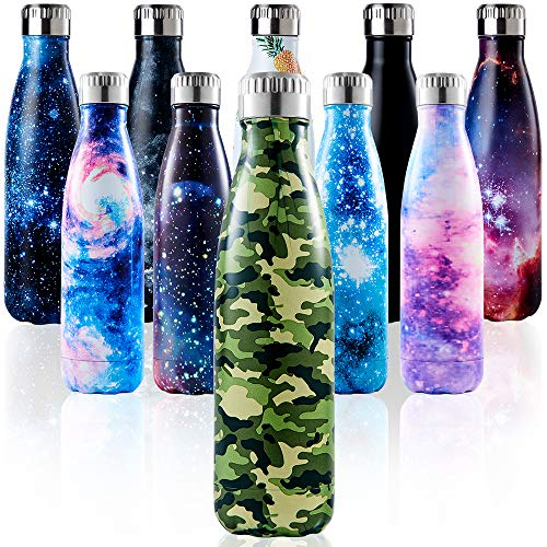 Enlifety Botella de Acero Inoxidable, sin Fugas | Acero Inoxidable sin BPA |Doble Pared al vacío | Mantiene Las Bebidas frías por 24 Horas, Las Bebidas Calientes por 12 Horas