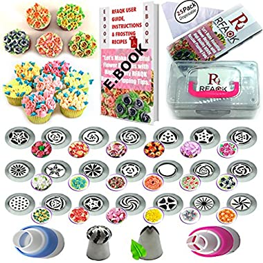 50 Pcs Russian Piping Tips Set with Storage Case- 21 Numbered,Easy to Use Icing Nozzles,Pattern Chart,E.Book User Guide,Leaf &Ball Tip,2 Coupler,25 Bags.Cake cupcake decorating Kit Baking Supplies