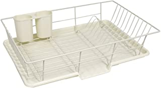 "Sweet Home Collection 3 Piece Dish Drainer Rack Set with Drying Board and Utensil Holder, 12"" x 19"" x 5"", Ivory"