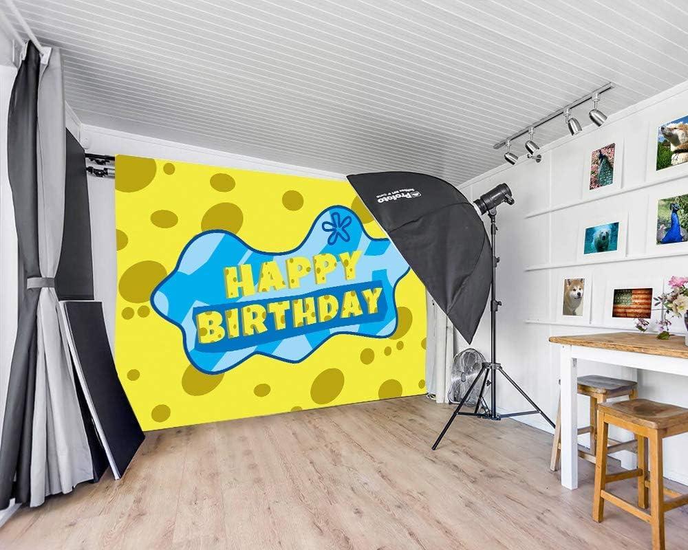 15x10ft Vinyl Happy Birthday Background Spongebob Squarepants Background for Childrens Birthday Party Decoration Baby Shower Interior Decoration Background LYZY0969 for Party Decoration Birthday YouT