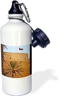 """3dRose wb_187384_1""""Rustaq, Omán, Oriente Medio. Rustaq Fort, bandera de Omani Botella de agua deportiva, 21 onzas, color blanco"""