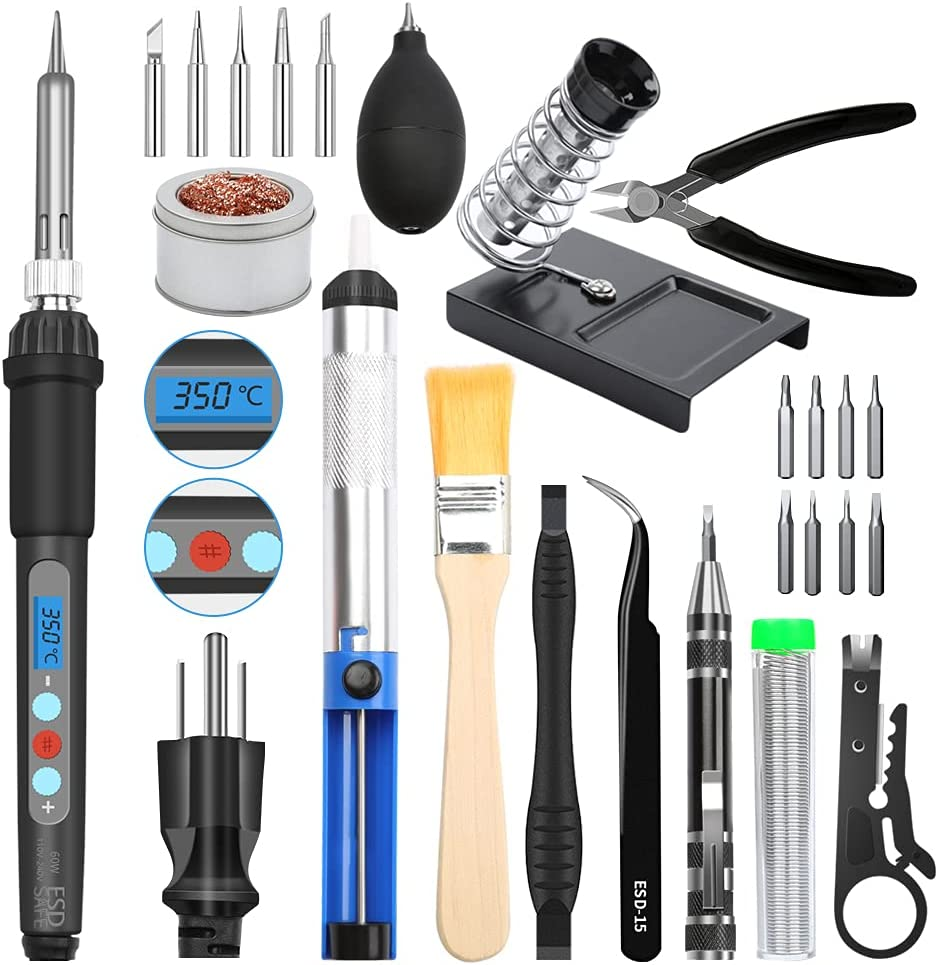 National uniform free shipping E·Durable Soldering Iron 5% OFF Kit Electronics LCD Digital 60W Sold
