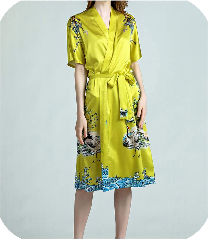 Dremwardrobe Sleepwear Pajama 100% Pure Silk Women Floral Printed Pattern Organic Fabric Summer