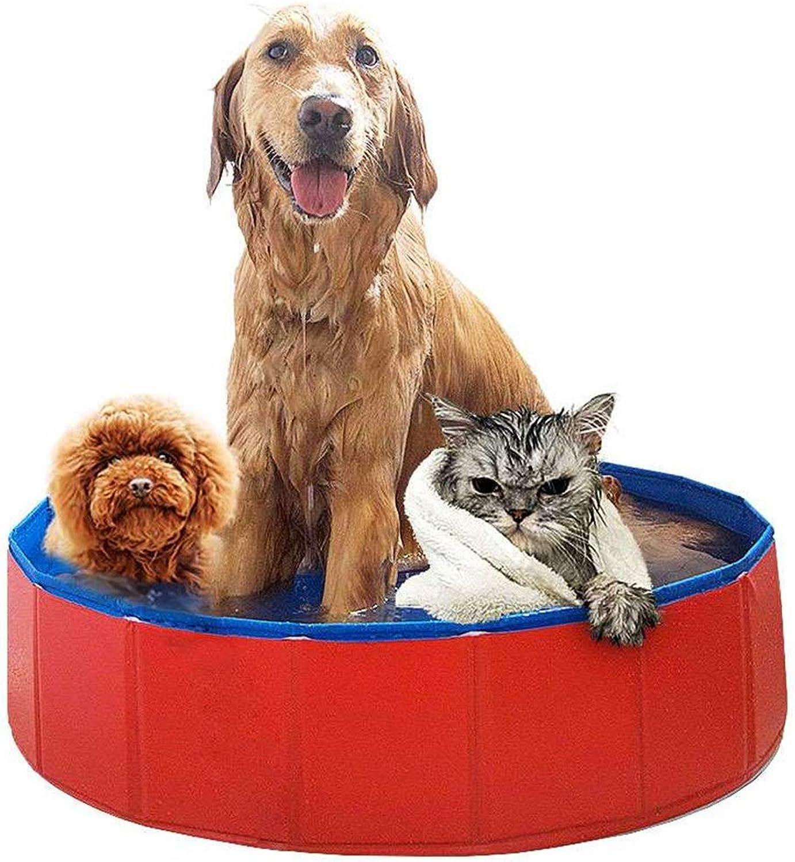 Spielzelt Faltbarer Haustier-HundeSwimmingpool, Welpenbadewanne, Kinder Scherzen Planschbecken-Ball-Wasserteiche - 80cm Durchmesser - Rot