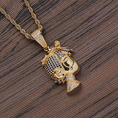 NCDFH Hip Hop Micro Paved Cubic Zirconia Bling Iced Out Cartoon Character Pendants Necklaces for Men Rapper Jewelry Gold 24inch