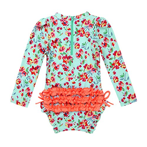 Mufeng Infant Baby Girls Rash Guard One-Piece Floral Printed Ruffle Back Crew Neck Long Sleeves Swimsuit Light Green 18-24 Months