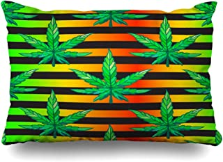 Ahawoso Decorative Throw Pillow Cover Queen 20x30 Colorful Amsterdam Herb Mens Fashion Pattern Sheet Beauty Abstract Green Weed Black Stripe Color Dope Zippered Pillowcase Home Decor Cushion Case
